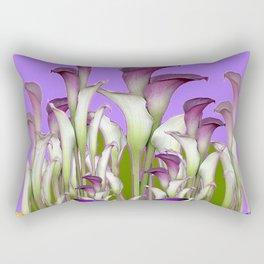 ART NOUVEAU PURPLE CALLA LILIES & BUTTERFLY FLOWERS ART Rectangular Pillow