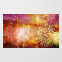 fireworks Area & Throw Rugs featuring fireworks by haroulita