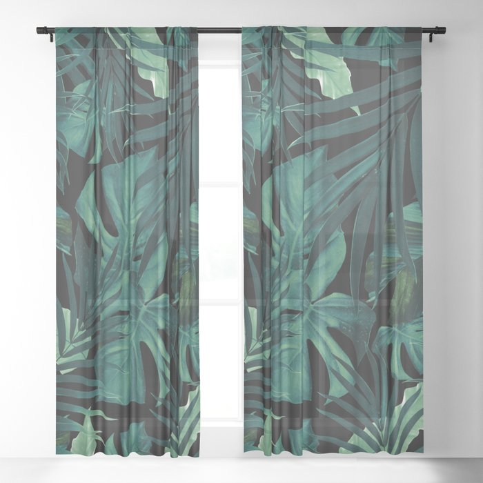 Tropical Jungle Night Leaves Pattern #1 #tropical #decor #art #society6 Sheer Curtain
