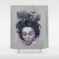 laura palmer Shower Curtains featuring Laura by Jorge Garza