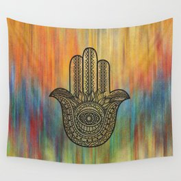 Colorful Golden Hamsa Hand Wall Tapestry