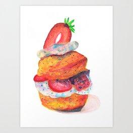 Strawberry shortcake for sweet lovers Art Print