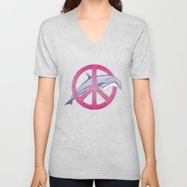 Dolphin Pink Peace Unisex V-Neck