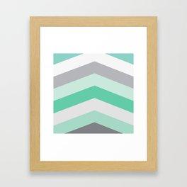 Mint and gray chevron Framed Art Print