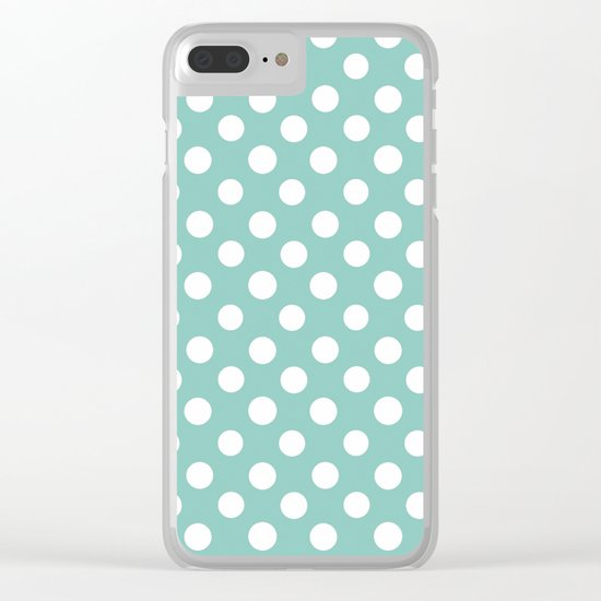 Beautiful HOME- Girls just wanna have dots - turquoise Clear iPhone Case