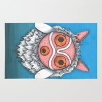 princess mononoke Area & Throw Rugs featuring Princess Mononoke Mask by MadameAce