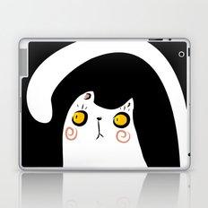 Dark Night White Cat Laptop & iPad Skin