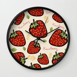 Strawberries pattern Wall Clock