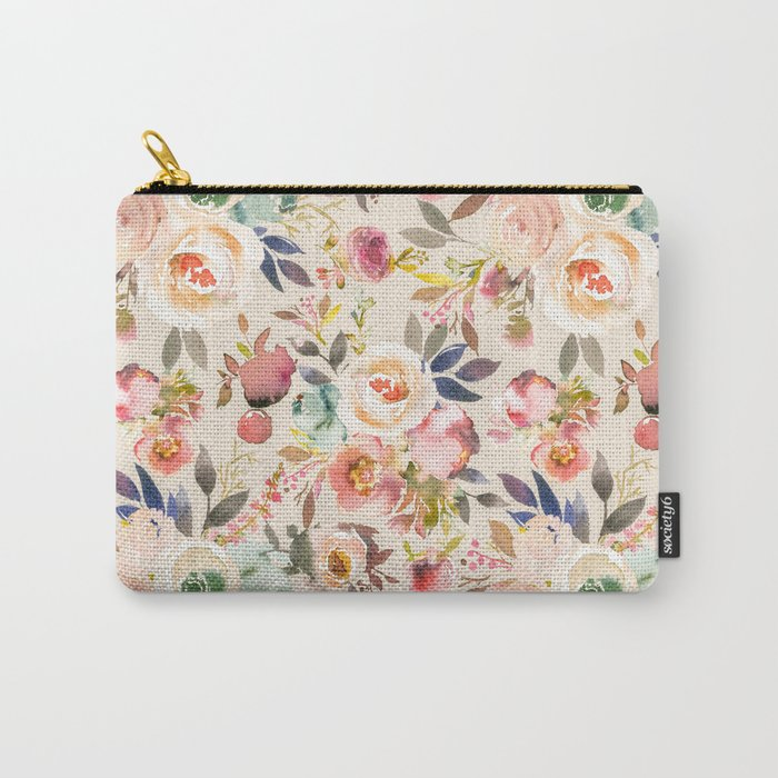 Hand painted ivory pink brown watercolor country floral Carry-All Pouch
