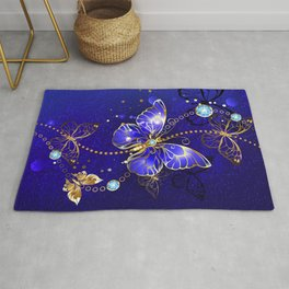 Blue Background with Sapphire Butterfly Rug