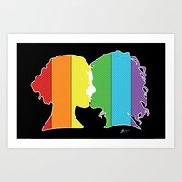 lesbian Art Prints featuring Lesbian Love  by Winter Graphics