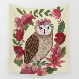 Floral Owl Wall Tapestry