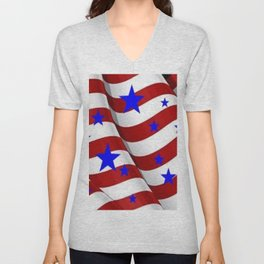 PATRIOTIC JULY 4TH BLUE STARS DECORATIVE ART Unisex V-Neck