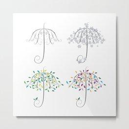 Umbrella Shape Tree 4 Seasons Metal Print