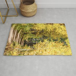 Yellow Tree Road // Hiking in the Forest Deep Into Autumn Colorful Trees Rug