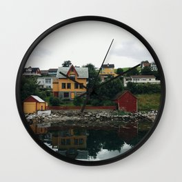 Pictoresque houses in Norway Wall Clock