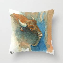 Wary Bison Throw Pillow