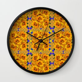 GOLDEN  YELLOW SUNFLOWERS GOLD & PURPLE PATTERN Wall Clock