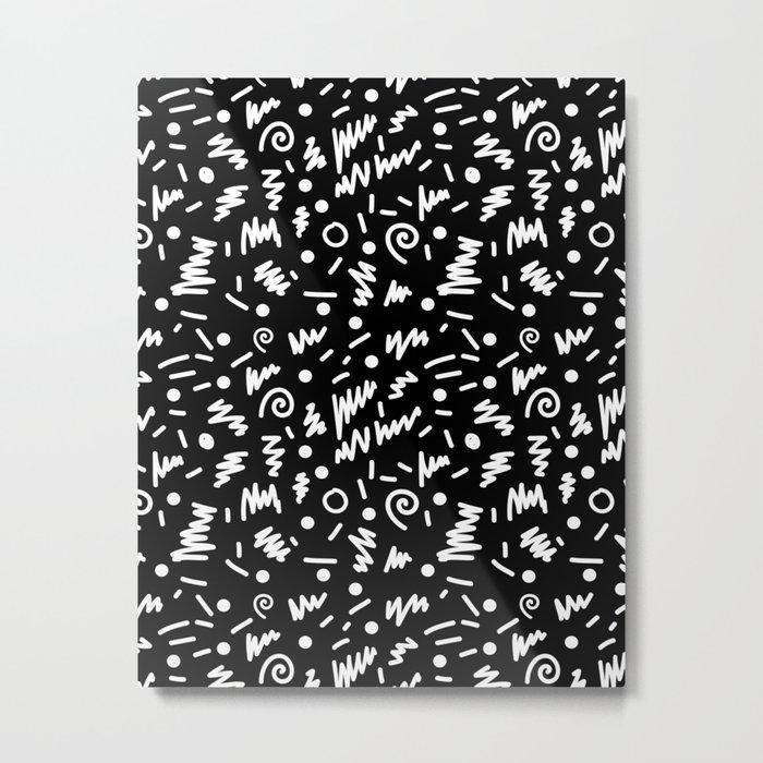 Memphis night black and white retro throwback 80s inspired pattern design metal print