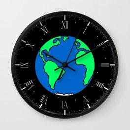 Earth And Stars Wall Clock