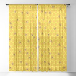 Mind Your Own Beeswax / Bright honeycomb and bee pattern Sheer Curtain