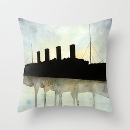 Titanic watercolour Throw Pillow