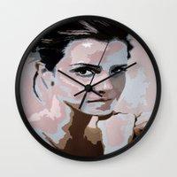 emma watson Wall Clocks featuring Emma Watson by Sensitive Derais