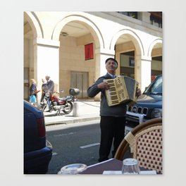 Accordionist at Lunch Canvas Print