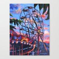 ferris wheel Canvas Prints featuring Ferris Wheel by Juliette Caron