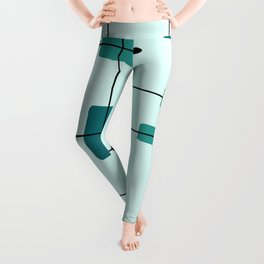 Rounded Rectangles Squares Turquoise Leggings