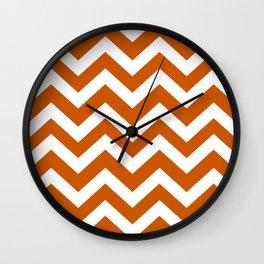 Burnt orange - orange color - Zigzag Chevron Pattern Wall Clock