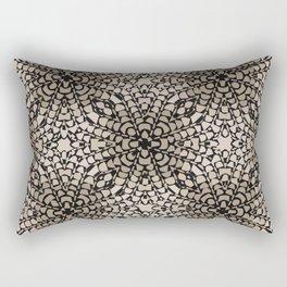 Black and Tan Geometric Modern Chrysanthemum Pattern Rectangular Pillow