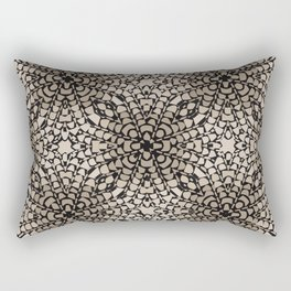 Black and Tan Geometric Modern Chrysanthemum Pattern Rectangular Pillow
