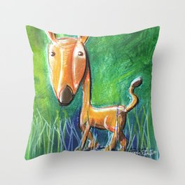 Roe Deer For Children Pastel Chalk Drawing Throw Pillow