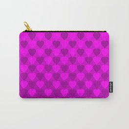 Zigzag of iridescent pink hearts staggered on a violet background. Carry-All Pouch
