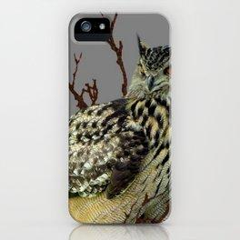OWL IN TREE GREY ART DESIGN  ART iPhone Case