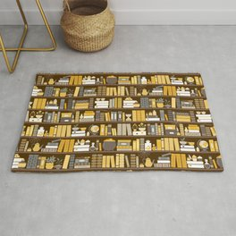 Book Case Pattern - Yellow Grey Rug