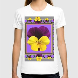 PURPLE & YELLOW SPRING PANSIES GARDEN T-shirt