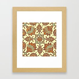 An Ottoman Iznik style floral design pottery polychrome, by Adam Asar, No 13b Framed Art Print