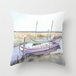 River bank boats - Landscape - Ria de Aveiro , Portugal Throw Pillow