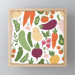 Cute vegetables Framed Mini Art Print