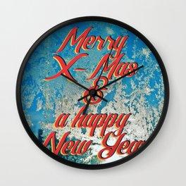Merry X-Mas & a happy New Year Wall Clock