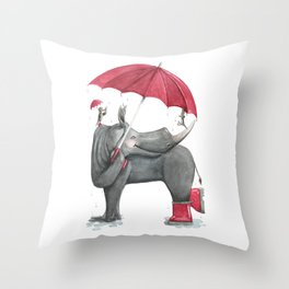 R is for Rhinos in Rainboots with Red Umbrellas!  Watercolor ABCs - Laugh-A-Bit Alphabet Throw Pillow