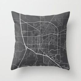 Denton Map, USA - Gray Throw Pillow