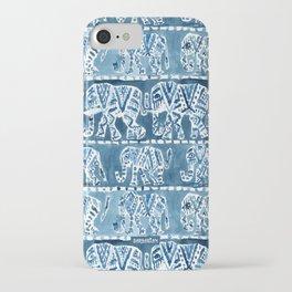 ELEPHANT SAFARI Tribal Indigo Ikat Pattern iPhone Case