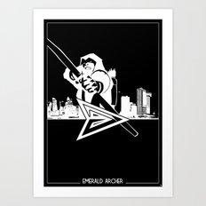 Green Arrow Silhouette Black & White Art Print