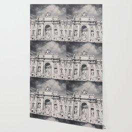 Trevi Fountain, black & white photography of Rome, fine art architecture, italian architectural love Wallpaper