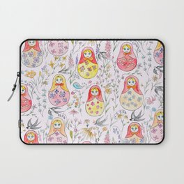 Russian dolls and flowers_ink and watercolor 3 Laptop Sleeve
