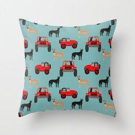 Great Dane jeep car dog breed pattern custom pet portrait Throw Pillow