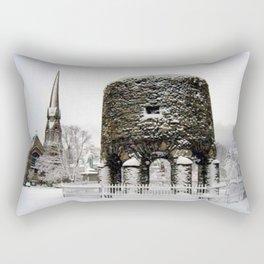 Newport, RI Viking Tower, Touro Park Winter Scene Rectangular Pillow